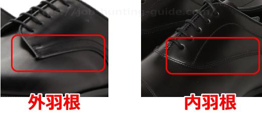 革靴の羽根のタイプ