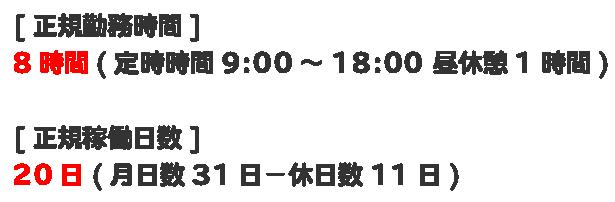 正規時間と正規稼働日数